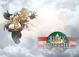 Busty Bombshell complete pin up. by O-mac