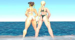 Chun Li and Cammy Ocean Fun III by cablex452