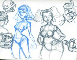 Chick sketches by Harvey-Dent