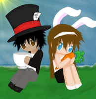 .:Mad Hatter And The White Rabbit:. by iAnnaKoneko