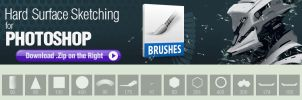 Photoshop Brushes for Hard Surface Sketching by pixelstains