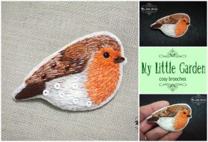 European Robin brooch by My--Little--Garden