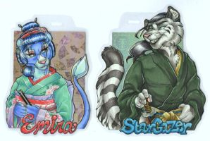 Emira and Stargazer Conbadges by wielderofthewind
