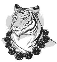 Tiger Sketch black and white by LawrenceChristmas