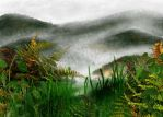 Mountains on fog by Drawlight