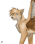 Winged Wolf (colored) by DrakynWyrm