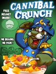 Cannibal Crunch cereal box art by webbcomics