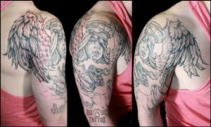 Angel with a Gun Tattoo by Reddogtattoo