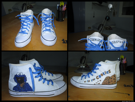 Cookie Monster Converse by Darth-Dsan