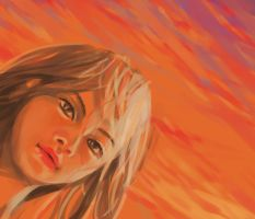 sunset girl painting by tianyi