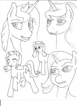 Sketch practice, pony edition by Creative-Punishment