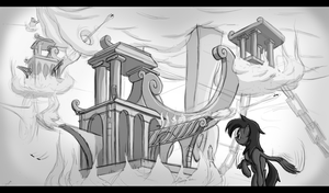 Steampunk cloudsdale architecture by Zookz25