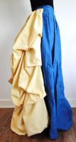 Blue and Yellow Bustle Skirt by salvagedsword