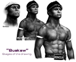 Buakaw - Stages of the drawing by zen-emma