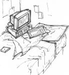 Desktop Computer in Corner of the Bed by Neumatic