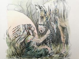Indian girl and horse in watercolor by Lineke-Lijn