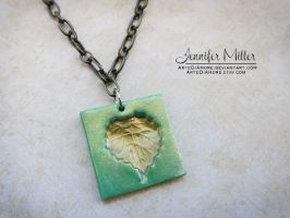 Impressed Leaf Pendant by ArteDiAmore