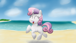 Sweetie Belle on a beach. by Lomeo