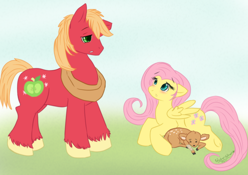 Fluttershy and Big Mac by WaterGleam