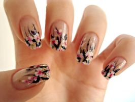 White-pink flowers nail art by DancingGinger