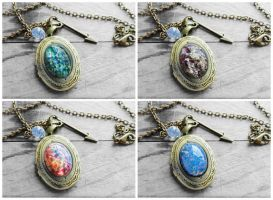 Opal Oval Glass Cabochon Bronze Locket Necklace by crystaland
