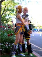 Smell the Flowers-Len and Rin by FruityCosplayers