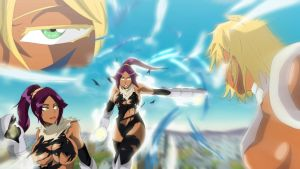 bleach yoruichi vs tia halibel by greengiant2012