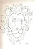 Lion face sketch by FawnsWonderland