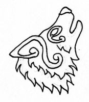 Celtic Howling Wolf by wilder