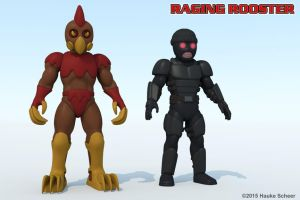 Raging Rooster and Robber 3D color models by hauke3000