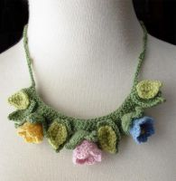 Crochet Tulips necklace by meekssandygirl
