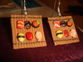 Sashimi Sushi Earrings by KittyAzura