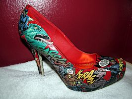 Catwoman Comic Book Shoes by kyleenicole64