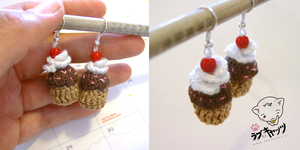 Chococupcakes with cream crochet earrings by vrlovecats