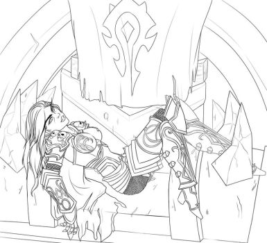 Sylvanas on the throne (Lineart) by Daeshagoddess