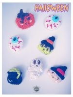 Halloween Crochet Scary Brooches by Tofe-lai