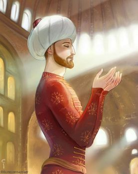 Mehmed el-Fatih the Conqueror in Hagia Sophia by Elveo