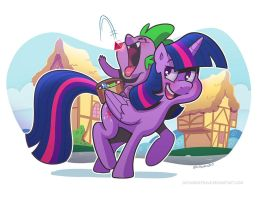 Twilight Sparkle and Spike by SupaCrikeyDave