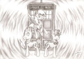 Doctor Whooves and Assistants (Pencil) by TheWrightDefense