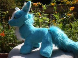 Tuquoise Fox Plushy by cosmiccrittercrafts