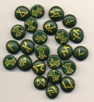 Green and Gold Norse Runes by FreddieCat