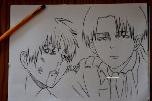 Eren beaten by Rivaille by DoreiShounen