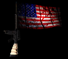 Bloody American Flag Flown On Assault Riffle by FearOfTheBlackWolf