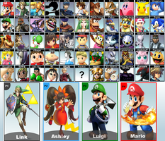 New Super Smash Brothers 4 Roster by Kyon000