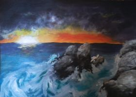 Unfinished Surreal Ocean Painting by Pennamore