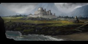 castle from the sea by LMorse
