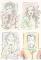 X-men trading cards by Blenia