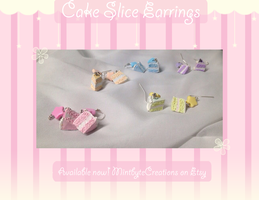 Pastel Star Cake Slice Earrings FOR SALE! by Xecax