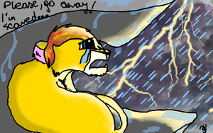 Abidari. Scared in the storm by TigaLioness