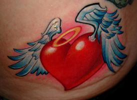 flying heart by redliontattoo